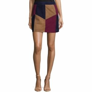 NWT Brown Kewa 70s Style Patchwork Suede Skirt